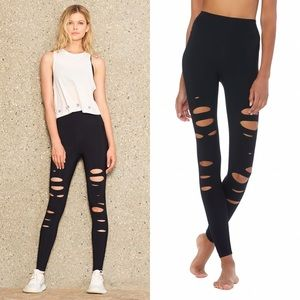 ALO YOGA Black High Waist Ripped Warrior Leggings